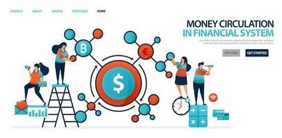 Geldumlauf im Finanzsystem im modernen Bankwesen. Finanznetz in Ländern und Banken. Kredit- und Kreditsystem von Banken an Unternehmen. Illustration für Website, mobile Apps, Poster vektor