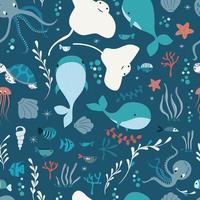 nahtloses Muster mit Unterwasser-Meerestieren, Wal, Tintenfisch, Stachelrochen, Quallen vektor