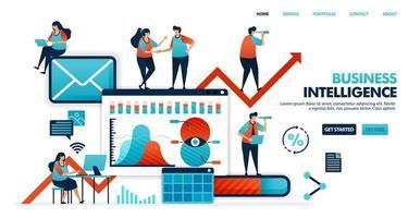 Business Intelligence oder Bi zur Analyse des Bedarfs, Wunschgewohnheit des Verbrauchers bei der Verwendung von Produkten für Smart Business. Unternehmen 4.0 im zukünftigen Unternehmensplan. menschliche Illustration für Website, mobile App, Poster vektor