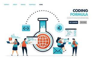 formler i programvara för kodning och programmering och appar. framsteg inom internetteknikindustrin. ingenjörer forskar och experimenterar i digital industri 4.0 illustration för webbplats, mobilappar, affisch vektor