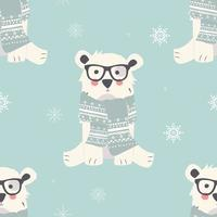 sömlösa god julmönster med söta isbjörnsdjur vektor