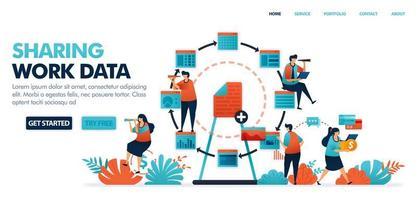 Daten und Arbeitsdokument teilen. Teilen von Arbeitsplätzen mit wirtschaftlichem Auftritt in der Technologiebranche 4.0 und Verbreitung in Arbeitsplänen oder Arbeitsprogrammen. menschliche Vektorillustration für Website, mobile Apps und Poster vektor