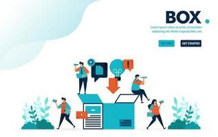 vektor illustration frakt låda. människor lägger varor i lådor som ska levereras. säker leveransbox för e-handel och företag. designad för målsida, webb, banner, mall, bakgrund, flygblad, affisch