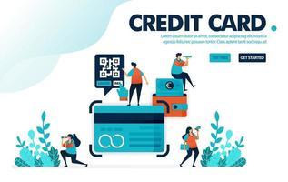 Vektor-Illustrationskonzept der Kreditkarte. Leute beantragen Kreditkartenkredit bei Bank. Rechnung und Rate mit Kreditkarte bezahlen. Entwickelt für Landing Page, Web, Banner, Vorlage, Hintergrund, Flyer