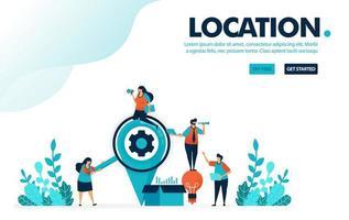 Vektorillustration auf der Suche nach Ort. Leute, die nach Orten suchen, um eine Ideenbox zu verschicken. Standort-Pin für Lieferung und Business-Service. Entwickelt für Landing Page, Web, Banner, Vorlage, Flyer, Poster