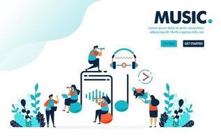 Vektor-Illustration Musikunterhaltung. Leute herum auf Musikschild und Kopfhörer. Hören Sie zu, erstellen Sie Musik und teilen Sie sie mit sozialen Medien. Entwickelt für Landing Page, Web, Banner, Vorlage, Flyer, Poster vektor