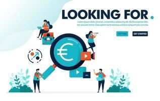 Vektor-Illustration auf der Suche nach Jobs. Menschen auf der Suche nach hochbezahlten Jobs. Finden Sie Gewinne in Geschäft, Geld und Investition. Entworfen für Landing Page, Web, Banner, Vorlage, Hintergrund, Flyer, Poster
