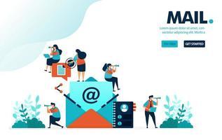 Vektor-Illustration Mail-Kontakt. Personen in Bildern von Briefen oder Umschlägen zum Senden und Teilen von Nachrichten. Posteingang von der Freundesliste. Entwickelt für Landing Page, Web, Banner, Handy, Vorlage, Flyer, Poster