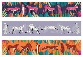 samling av söta handritade geparder på horisontell bakgrund vektor