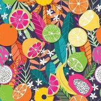 frukt seamless mönster, samling av exotiska tropiska frukter med växter och blommor vektor