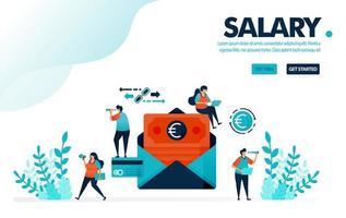 vektor illustration säker lönekuvert betalning. människor väntar på månadslön. klassisk betalning via post eller kuvert. design för målsida, webb, banner, mall, flygblad, affisch