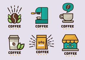 kaffebutiklogo vektorpaket vektor