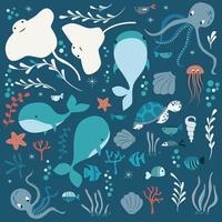 Sammlung von bunten See- und Meerestieren, Wal, Tintenfisch, Stachelrochen vektor
