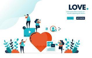 Vektor-Illustration Liebeszeichen. Menschen mögen und lieben Inhalte. kreative Social-Media-Video- und Bildinhalte mit viel Liebe. Entwickelt für Landing Page, Web, Banner, Handy, Vorlage, Flyer, Poster vektor