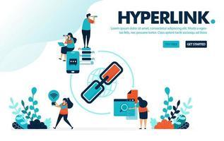 Vektor-Illustration Hyperlink und teilen. Menschen teilen Link für Werbung und Reklame. Marketing mit Share Referral Link. Entwickelt für Landing Page, Web, Banner, Handy, Vorlage, Flyer, Poster vektor