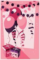 födelsedag bakgrund med presenter och ballonger