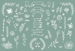 handgezeichnete Vintage Pfeile, Federn, Trennwände und florale Elemente vektor