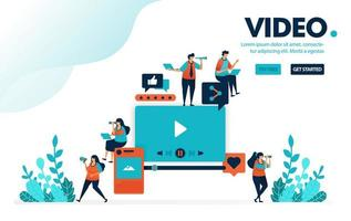 Vektor-Illustration Videobearbeitung. Leute schauen sich Videos aus sozialen Medien an. Bewertung und Kommentar abgeben, hochladen und bearbeiten. Entwickelt für Landing Page, Web, Banner, Handy, Vorlage, Flyer, Poster vektor