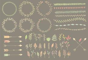 handgezeichnete Vintage Pfeile, Federn, Trennwände und florale Elemente