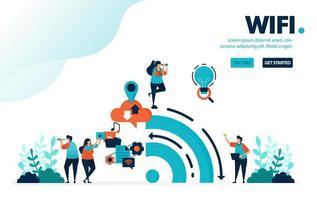 Vektor-Illustration Internet und WiFi. Menschen nutzen WLAN für Aktivitäten und soziale Medien. Big Data aus der Geschichte der Internetnutzung. Entwickelt für Landing Page, Web, Banner, Handy, Vorlage, Flyer, Poster