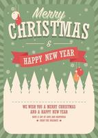 god julkort på vinterbakgrund, affischdesign vektor