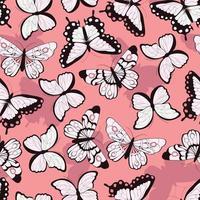 nahtloses Muster mit handgezeichneten bunten Schmetterlingen vektor