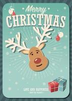 Frohe Weihnachtskarte mit Rentier- und Geschenkboxen auf Winterhintergrund
