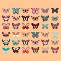 handgezeichnetes buntes Schmetterlingsset vektor