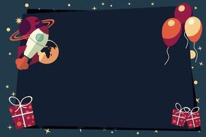 Banner mit Luftballons, Geschenken, Raketenschiff und Planeten