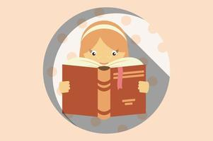 flicka som läser en bok för utbildningskoncept