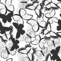 nahtloses Muster mit handgezeichneten Schmetterlingen vektor