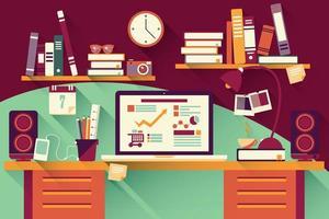 Home-Office-Schreibtisch - flaches Design, langer Schatten, Schreibtisch, Computer und Schreibwaren vektor