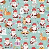 jul sömlösa mönster med jultomten, renar, björn och gåvor vektor