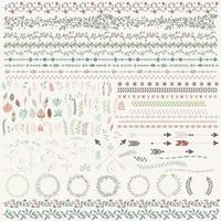 handgezeichnete Vintage Blätter, Pfeile, Federn, Kränze, Element Set
