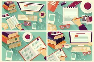Sammlung von vier flachen Designtischen, langem Schatten, Schreibtisch, Computer und Schreibwaren