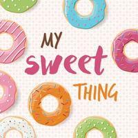 Plakatentwurf mit bunten glänzenden leckeren Donuts