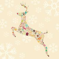 dekorativ julren med snöflingor vektor