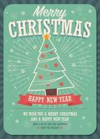 god julkort med julgran och presentaskar på vinterbakgrund vektor