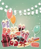 födelsedag bakgrund med klistermärke presenter och ballonger