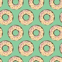 nahtloses Muster mit bunten leckeren glänzenden Donuts, Vektorillustration