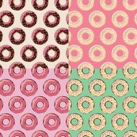 fyra sömlösa mönster med färgglada välsmakande glansiga munkar