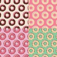 vier nahtlose Muster mit farbenfrohen, leckeren, glänzenden Donuts