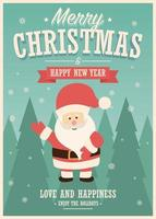 god julkort med jultomten på vinterlandskapsbakgrund vektor