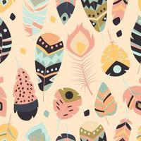 sömlösa mönster med boho vintage tribal etniska färgglada livliga fjädrar