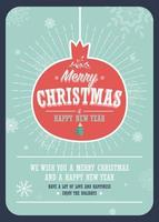 god julkort på en dekorativ julboll på vinterbakgrund