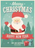 Frohe Weihnachtskarte mit Weihnachtsmann und Geschenkboxen auf Winterhintergrund