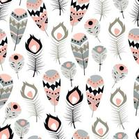nahtloses Muster mit Boho Vintage Stammes ethnischen bunten lebendigen Federn