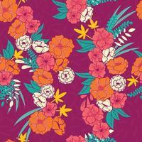blommig djungel sömlösa mönster vektor