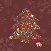 dekorativer Weihnachtsbaum mit Rentieren, Geschenkboxen und Schneeflocken