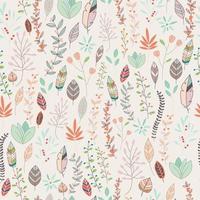 nahtloses Musterdesign mit handgezeichneten Blumen, floralen Elementen und Federn vektor